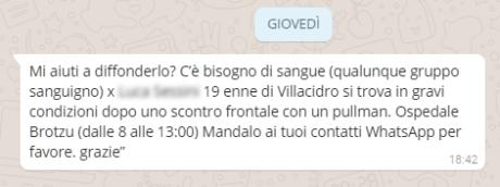 Il messaggio su Whatsapp