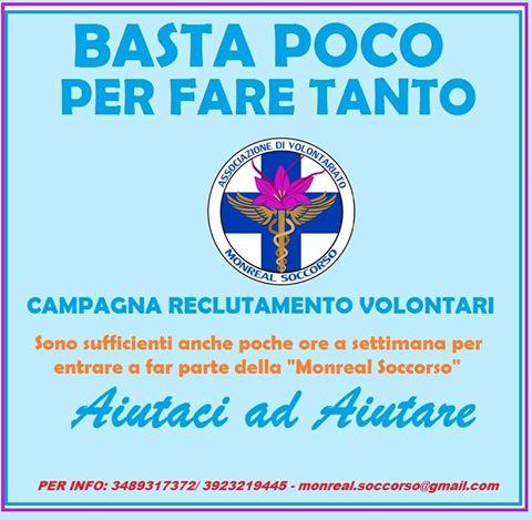 Monreal Soccorso, una campagna per reclutare i volontari