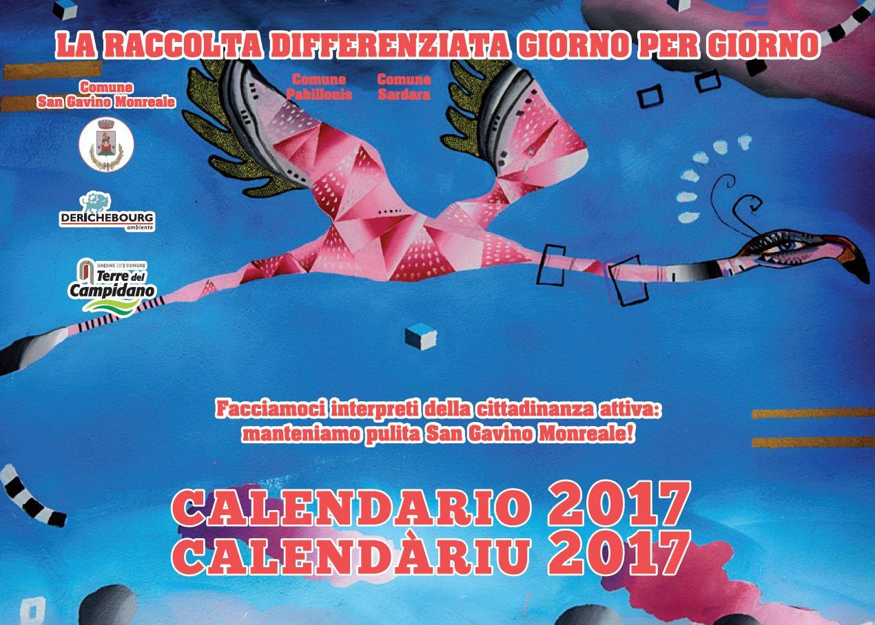 Calendario 2017 Derichebourg per la raccolta dei rifiuti solidi urbani