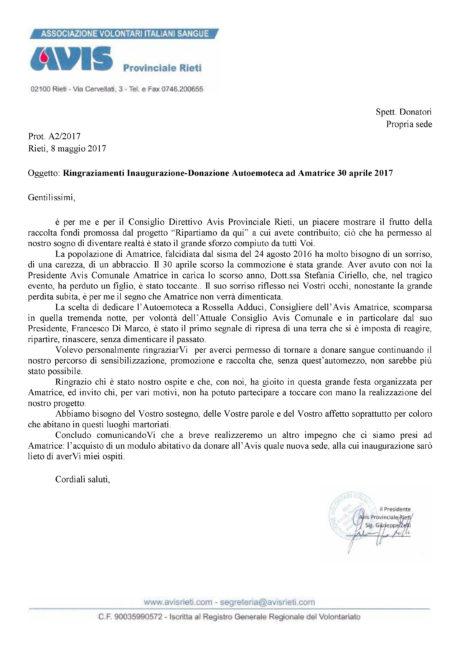 Ringraziamenti Inaugurazione-Donazione Autoemoteca ad Amatrice 30 aprile 2017