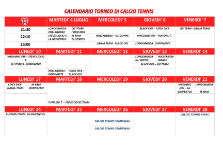 Calendario Calcio-Tennis