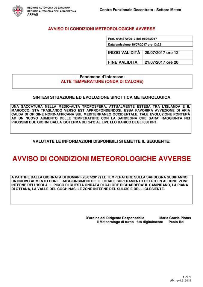 Allerta meteo per alte temperature fino al 21 luglio 2017