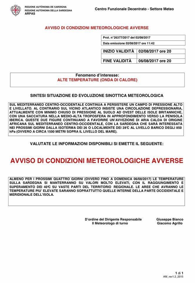 Allerta meteo per alte temperature fino al 6 agosto 2017