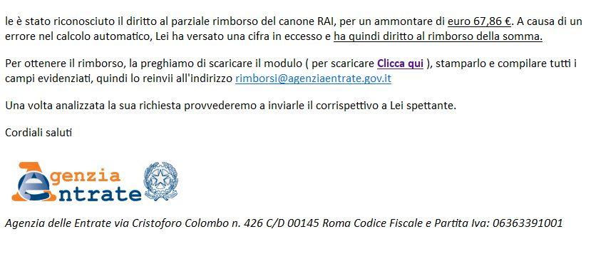 Parziale rimborso canone Rai: attenzione alla truffa via email