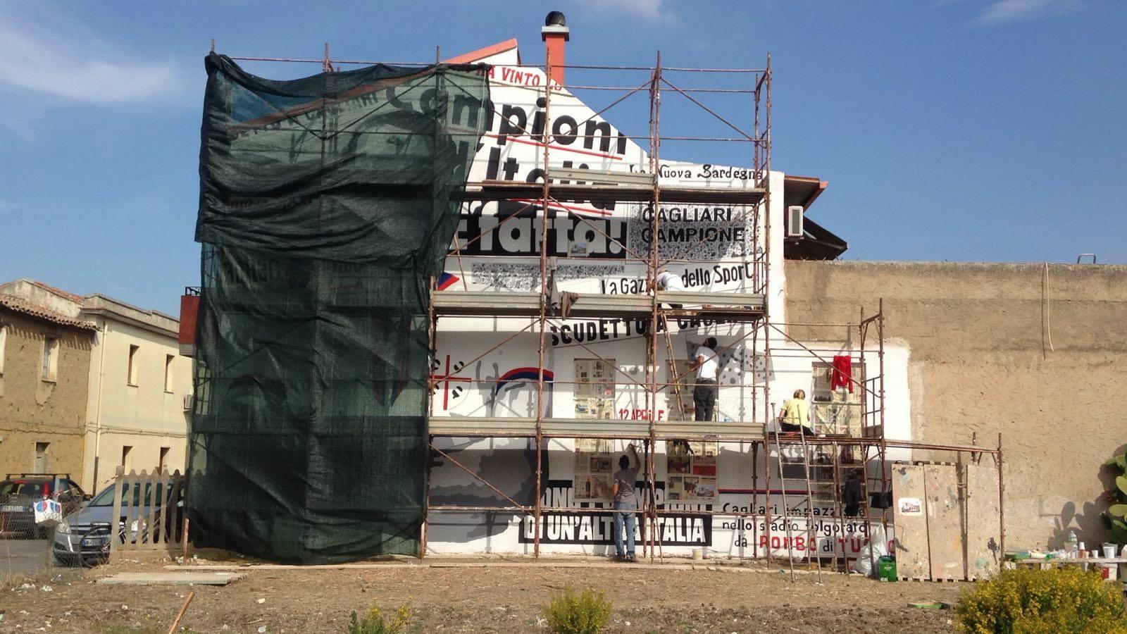 San Gavino Monreale, un murale dedicato a Gigi Riva