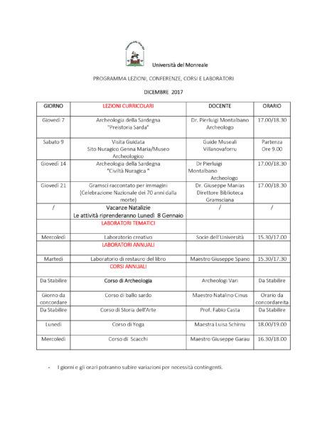 Università del Monreale: lezioni nel mese di Dicembre 2018