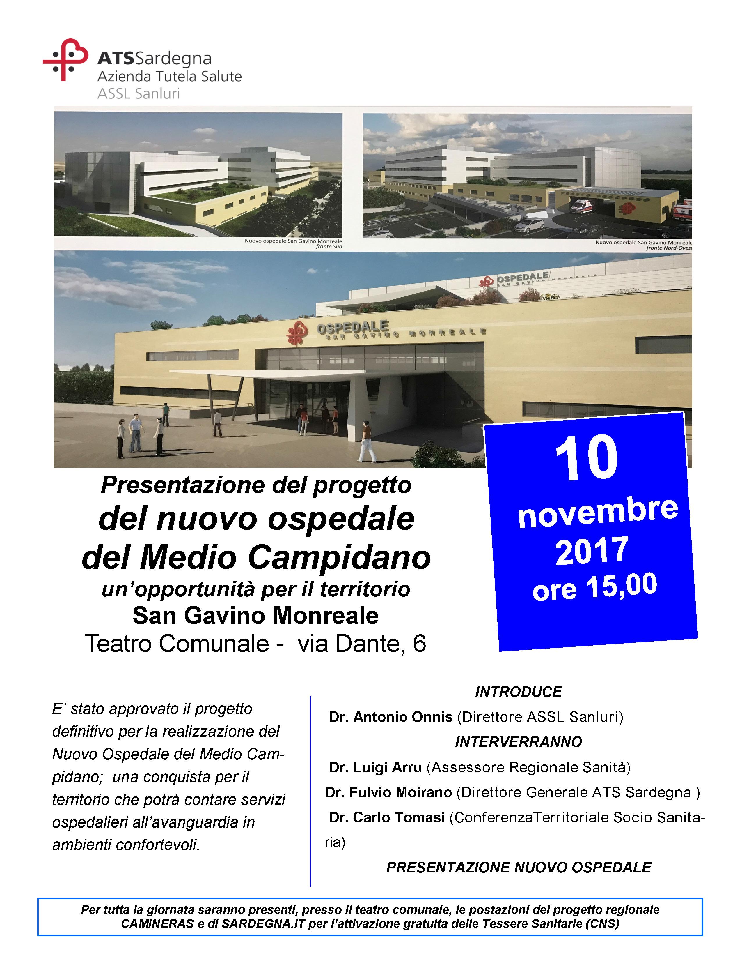 Presentazione del progetto del nuovo ospedale del Medio Campidano