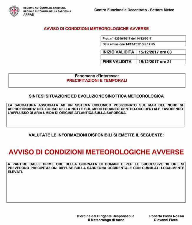 Avviso di condizioni meteorologiche avverse per il 15 dicembre 2017