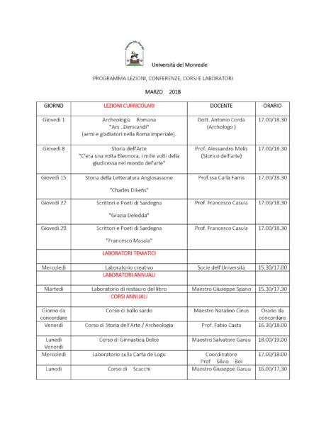 Università del Monreale: lezioni nel mese di Marzo 2018