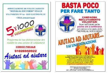 Monreal Soccorso, una campagna per il 5x1000