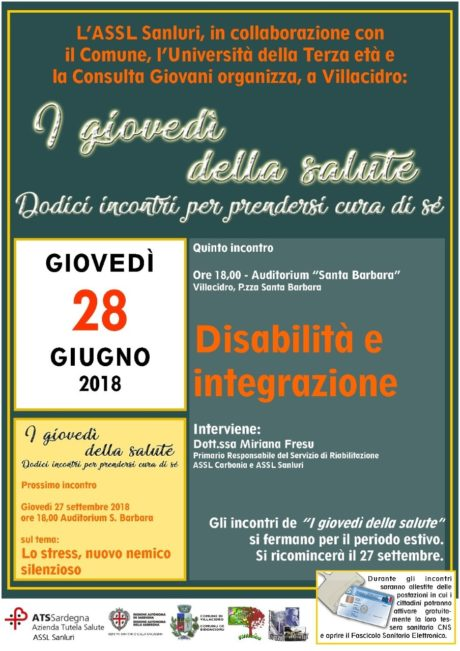 Disabilità e integrazione, nuovo appuntamento con i giovedì della salute a Villacidro