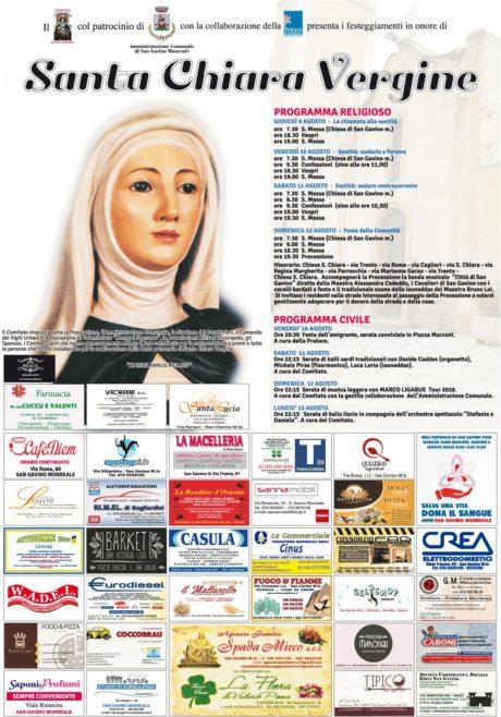 Santa Chiara 2018, il programma completo