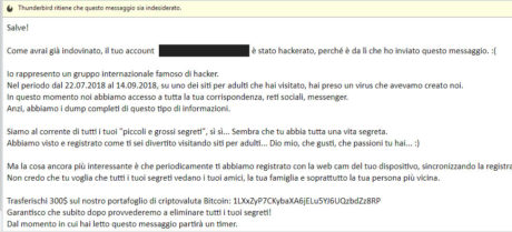 Bufala email con account hackerato e richiesta riscatto in bitcoin: la Polizia Postale avverte