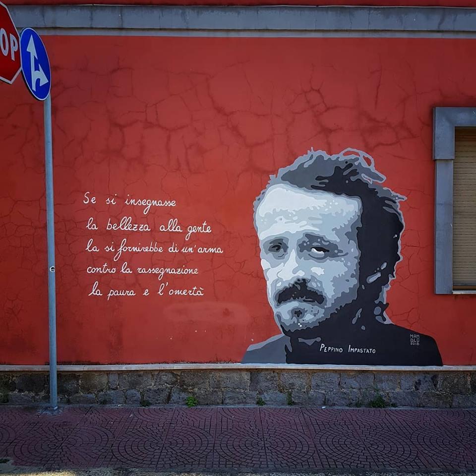 Un murale per ricordare Peppino Impastato
