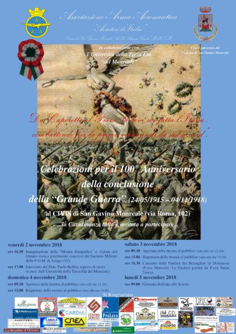 """Celebrazioni per il 100° Anniversario della conclusione della """"Grande Guerra"""""""