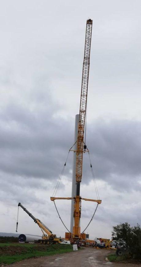 Parco eolico Green Energy, in corso il posizionamento di 8 pale