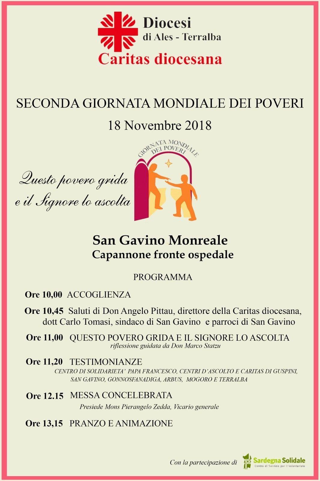 San Gavino, si celebra la Seconda Giornata Mondiale dei Poveri