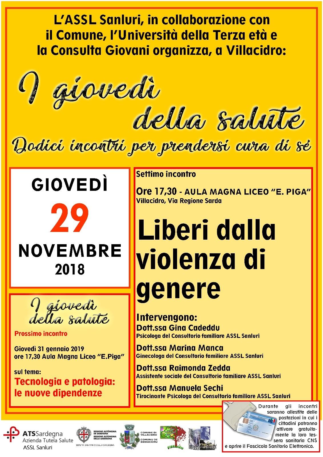 Violenza di genere, giovedì 29 novembre incontro a Villacidro