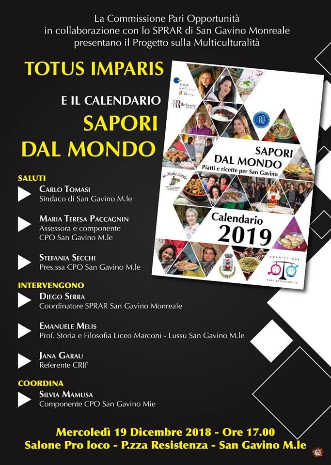 Totus Imparis e il calendario Sapori dal Mondo 2019