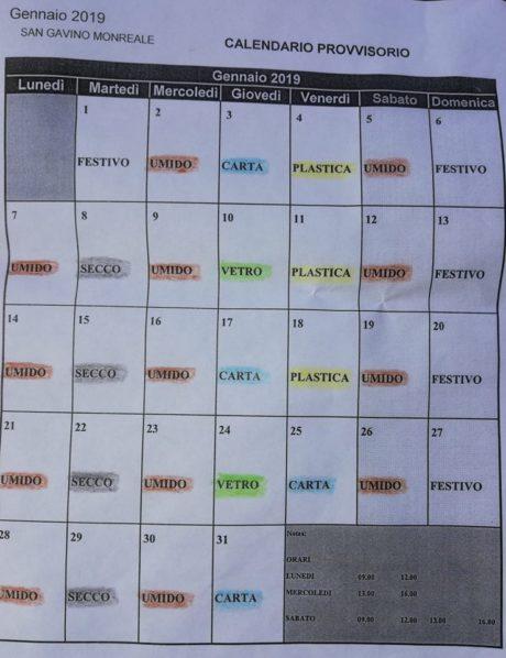 Calendario differenziata Gennaio 2019
