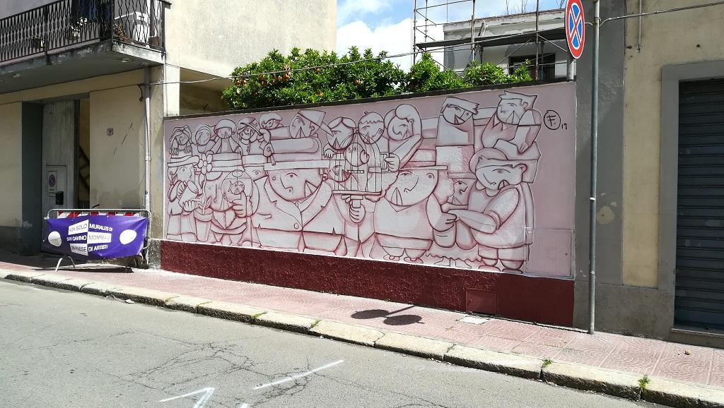 L'arte cubista colora San Gavino Monreale: il nuovo murale è opera di EFFE