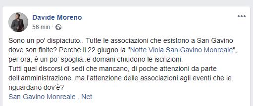 Notte Viola, l'appello di Davide Moreno
