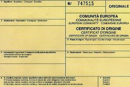 Camera di Commercio Como-Lecco - Certificato di origine