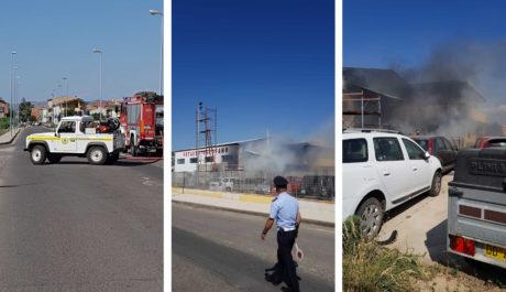 Incendio alla Motauto Garofano, danni ingenti e paura a San Gavino Monreale