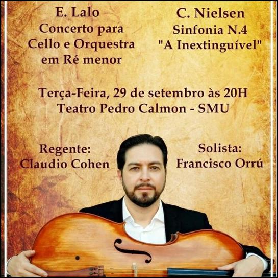 Francisco Orru primo violoncelo nella Orchestra del Teatro Nazionale Claudio Santoro. Brasilia - Brasile