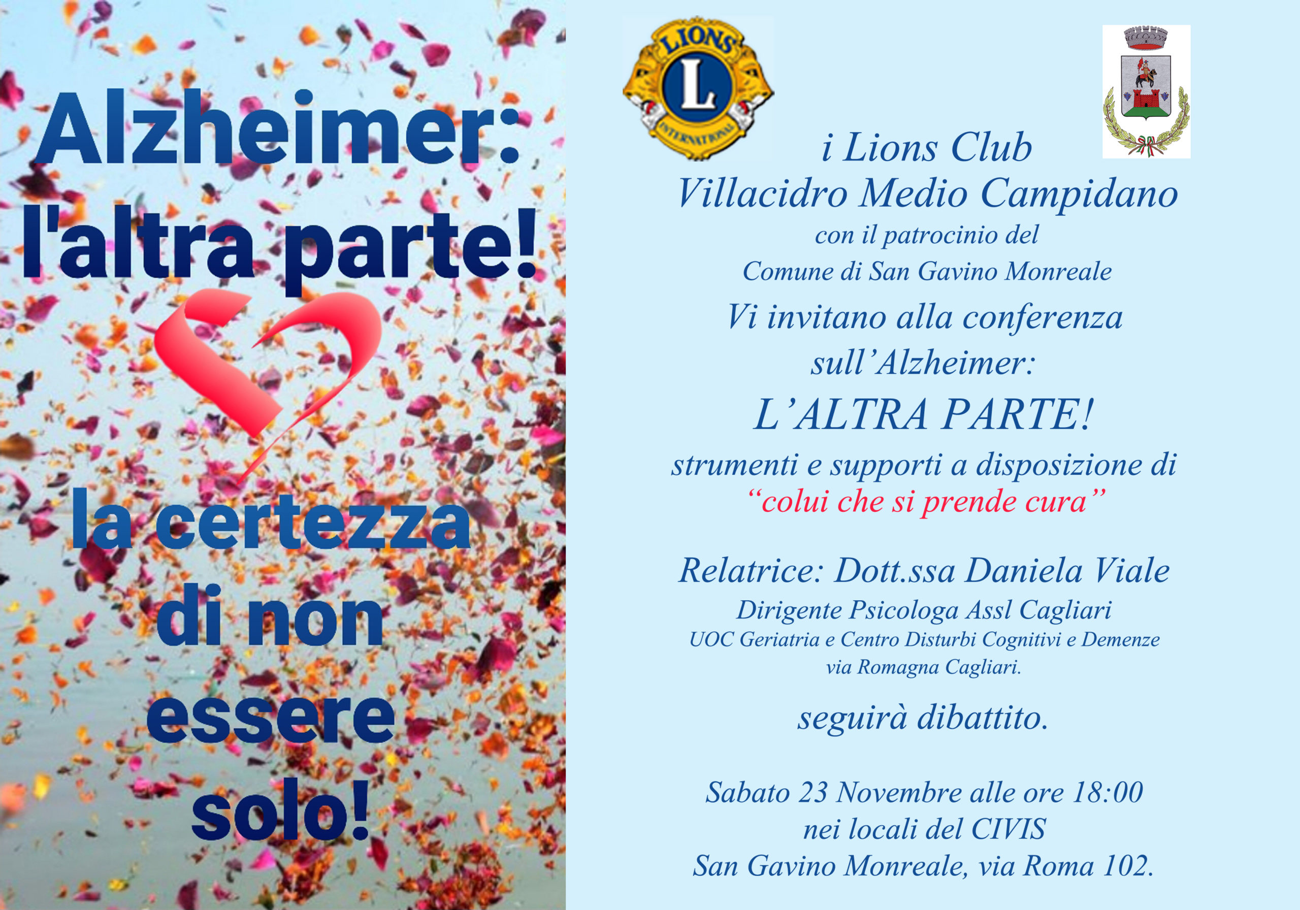 Alzheimer, il 23 novembre una conferenza del Lions Club