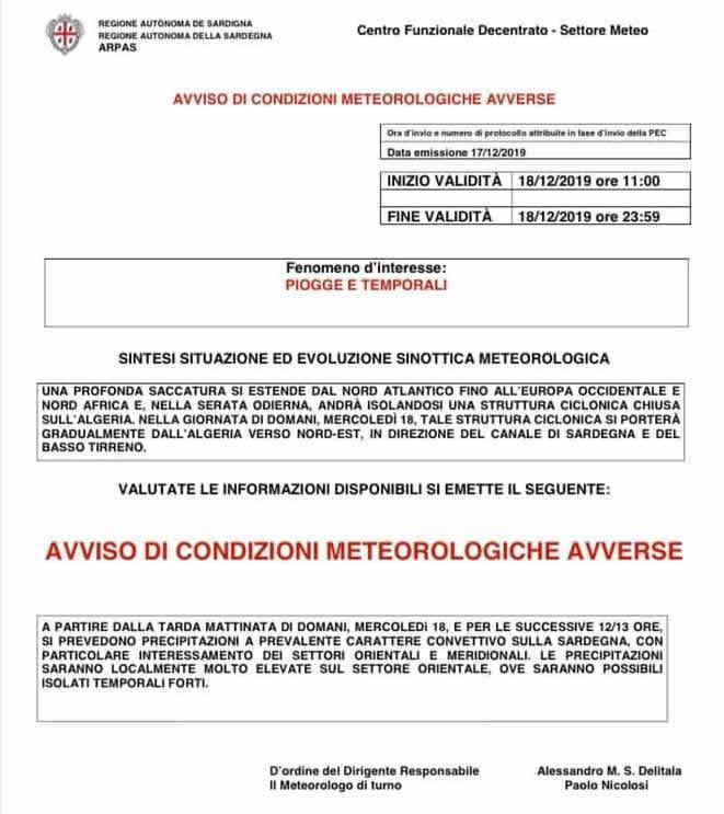 Allerta meteo, piogge e temporali in Sardegna
