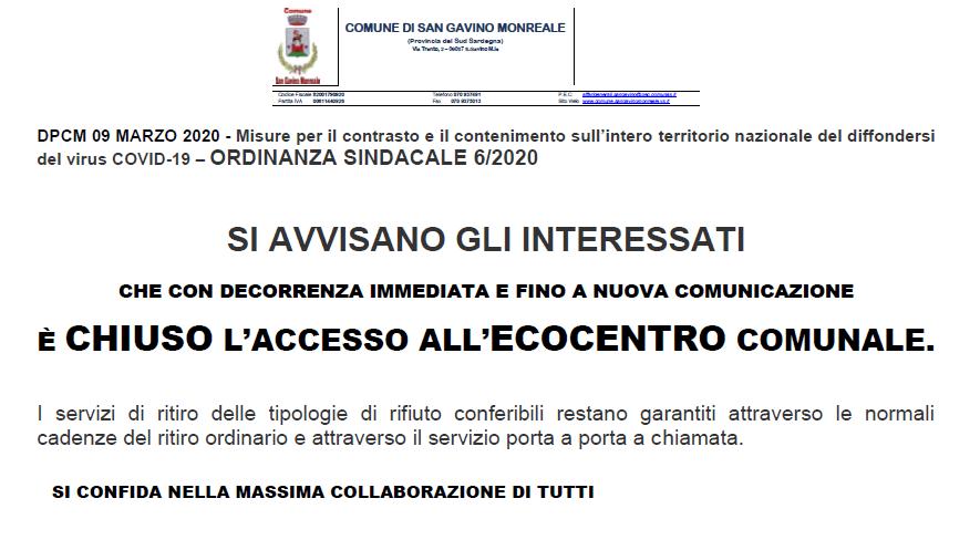Coronavirus, a San Gavino Monreale chiude anche l'ecocentro