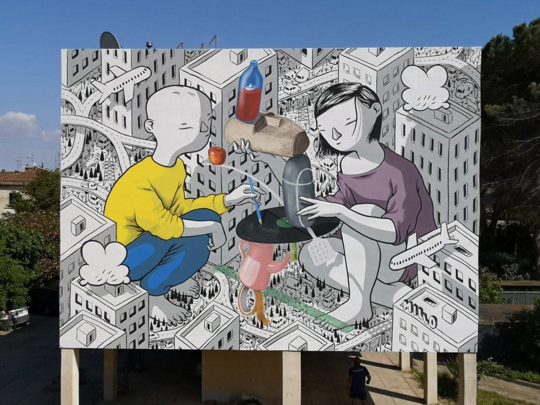 Via Pascoli, a San Gavino un nuovo meraviglioso murale firmato dallo street artist Millo