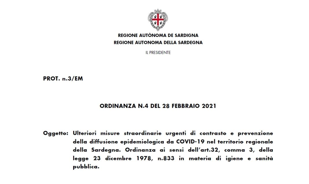 Sardegna in zona bianca: arriva l'ordinanza della Regione