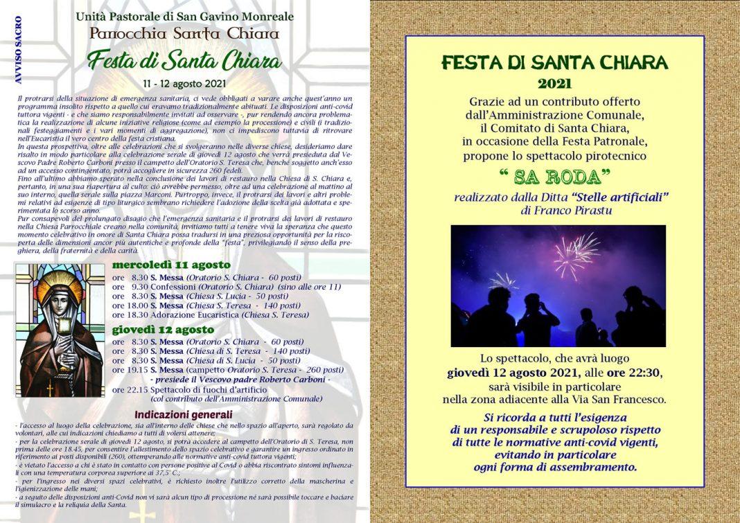 La Festa di Santa Chiara si farà: ecco il programma dell'edizione 2021