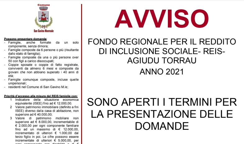 REIS - Reddito d'inclusione sociale - Agiudu torrau anno 2021 - Apertura termini